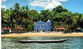 Boipeba - Boipeba-BA-Vista da praia e Igreja-Foto:pontosturisticosbrasil.org