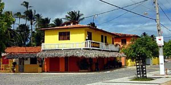 Praia de Flexeiras-CE-Comércio no centro-Foto:heraldomedeiros