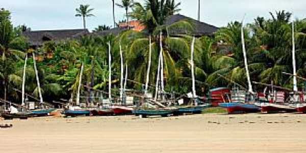Praia de Flexeiras-CE-Jangadas na praia-Foto:heraldomedeiros