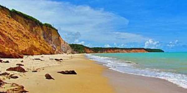 Praia Carro Quebrado-AL-Vista da praia-Foto:www.qualviagem.com.br