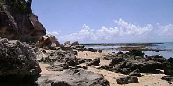 Praia do Espelho-BA-Rochas na praia-Foto:Giuliano Novais
