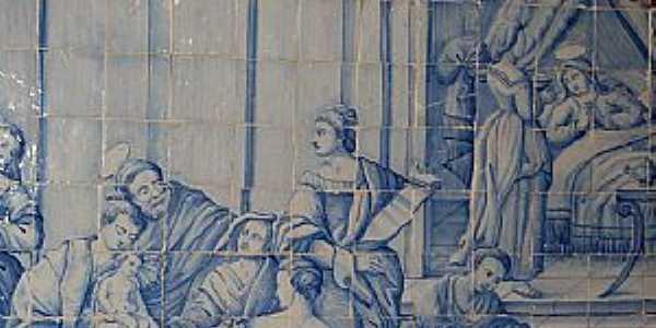Oliveira dos Campinhos-BA-Azulejos portugueses pintados no interior Igreja de N.Sra.de Oliveira-Foto:Cadu Freitas/BnL