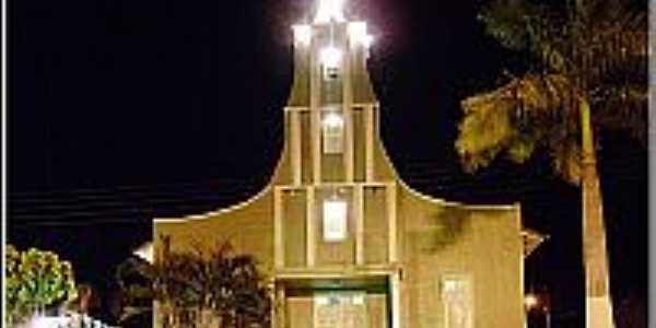 Vereda-BA-Vista noturna da Paróquia de São Sebastião-Foto:paroquiavereda