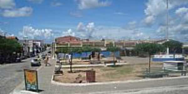 Jaguaretama-CE-Praça central e Mercado Público-Foto:jose moreira silva Moreira