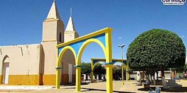 Miragem-CE-Praça e Igreja Matriz-Foto:PM de Caririaçu
