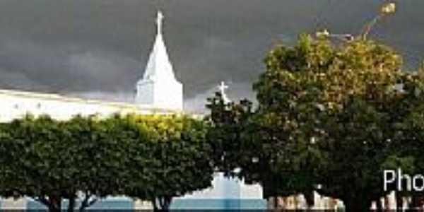 Miragem-CE-Vista da Torre da Igreja e centro-Foto:Facebook