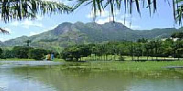 Lago,ao fundo Monte Mestre Álvaro no Jardim Botânico-Foto:Robson Scardini