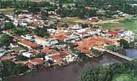 Aporé - Vista aérea da cidade e o Rio Aporé-Foto:lagoasantagoias.