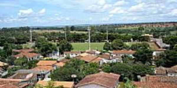 Bela Vista de Goiás-GO-Vista do Estádio Geraldo Felipe e a cidade-Foto:belavistanet
