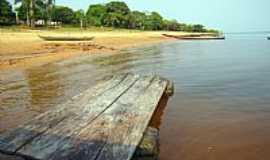 Freguesia do Andirá - Ponte de madeira no porto do Distrito de Freguesia do Andirá-AM-Foto:baeturismo