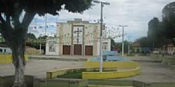 Pra�a e Igreja de Palmeir�ndia-MA-Foto:Marcos.Soares