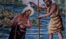 São Félix de Balsas - Pintura em cerâmica simbolizando o batísmo de Cristo O redentor, na Igreja matriz em São Félix de Balsas, MA. , Por Arão Martins Silva