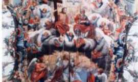 São Miguel do Cajuru - Medalhão central da pintura do teto da igreja - Por José Antônio de Ávila Sacramento