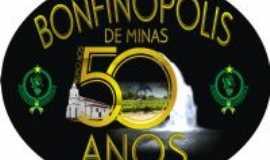 Bonfinópolis de Minas - Logo e Selo Postal Cinquentenário Bonfinópolis de Minas - MG, Por Poeta Nunes de Souza