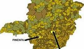 Pimenta - Mapa de Localização - Pimenta-MG