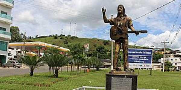 Rodeiro-MG-Homenagem ao cantor Zé Geraldo, no trevo de acesso-Foto:rodeiro.mg.gov.br