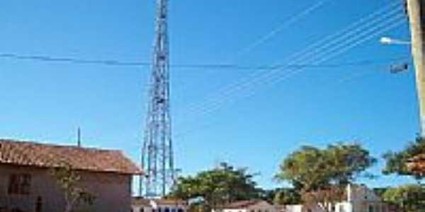 Praça e torre de telefonia em Simão Campos-Foto:Simão Campos-Mg