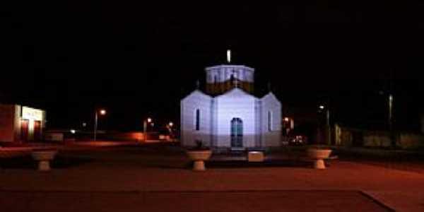Taiobeiras-MG-Vista noturna do Santuário de N.Sra.de Fátima-Foto:Rogertaio