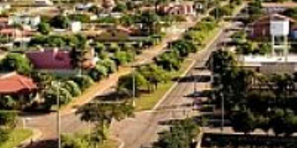 Vista aérea de rua da cidade
