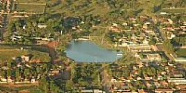 Araputanga-MT-Vista aérea do Lago e a cidade