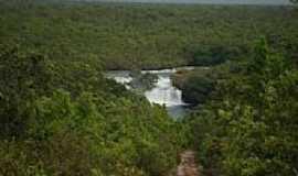 Vale de São Domingos - Cachoeira no Rio Guaporé em Vale de São Domingos-MT-Foto:elizeualmeidafesa