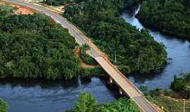 São José do Rio Claro - São José do Rio Claro-MT-Vista aérea da ponte sobre o Rio Claro-Foto:luiz miguelete