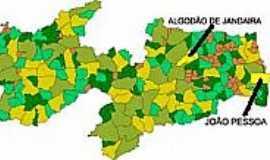 Algodão de Jandaíra - Mapa de Localização - Algodão de Jandaíra-PB