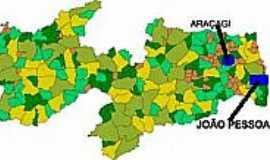 Ara�agi - Mapa de Localiza��o - Ara�agi-PB