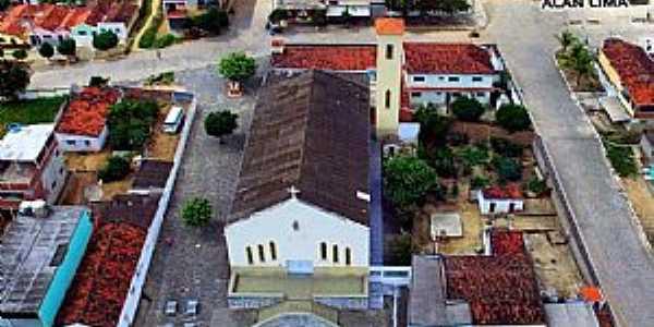 Aroeiras-PB-Vista aérea do centro e Matriz de N.Sra.do Rosário-Foto:Facebook