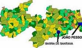 Barra de Santana - Mapa de Localização - Barra de Santana-PB