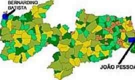 Bernardino Batista - Mapa de Localização - Bernardino Batista-PB