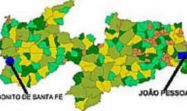 Bonito de Santa Fé - Mapa de Localização - Bonito de Santa Fé-PB