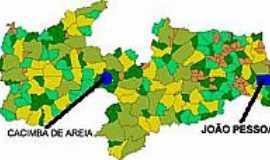 Cacimba de Areia - Mapa de Localização - Cacimba de Areia-PB