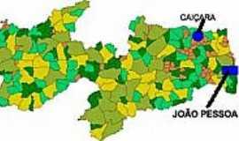 Caiçara - Mapa de Localização - Caiçara-PB