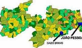 Gado Bravo - Mapa de Localização - Gado Bravo-PB