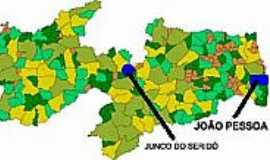 Junco do Serid� - Mapa de Localiza��o - Junco do Serid�-PB