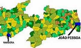 Manaíra - Mapa de Localização - Manaíra-PB
