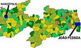 Marizópolis - Mapa de Localização - Marizópolis-PB