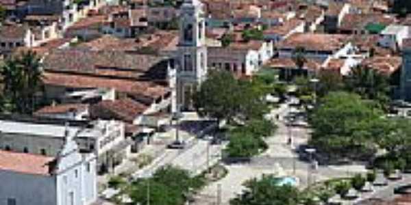 Vista aérea da Igreja e Praça Getúlio Vargas em Santa Rita-Foto:marcelomoura