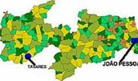 Tavares - Mapa de Localização - Tavares-PB