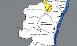 Camaragibe - Mapa destacando em amarelo Camaragibe-PE