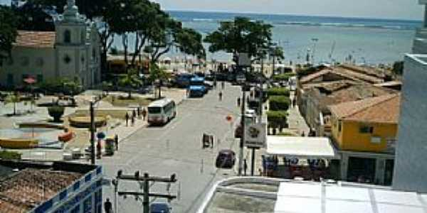 São José da Coroa Grande-PE-Vista parcial da cidade e o mar-Foto:Aroldo Acioly