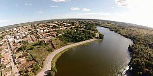 Água Branca-PI-Vista aérea do açude e a cidade-Foto:www.mpiaui.com