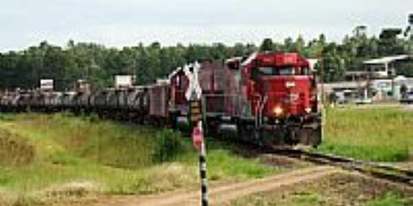 Trem próximo à Estação-Foto:Jeferson Luiz da Luz
