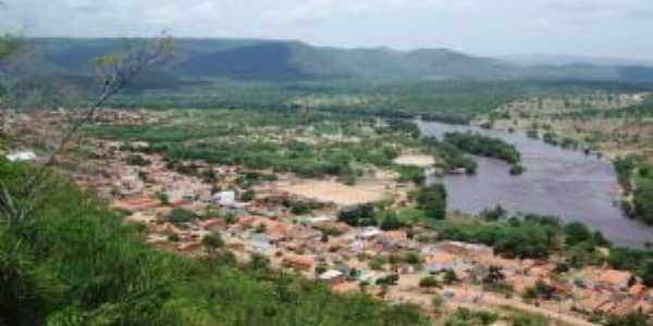Vista panoramica da cidade de Itaetê Bahia no mirante conhecido cruzeiro, Por Val Marques