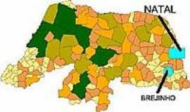 Brejinho - Mapa de Localização - Brejinho-RN