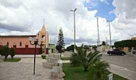 Jaçanã - Praça e Igreja Matriz de N.Sra.de Fátima em Jaçanã-RN-Foto:.Nilson.Auzê