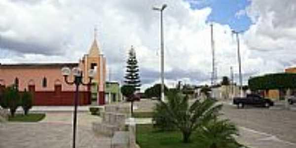 Praça e Igreja Matriz de N.Sra.de Fátima em Jaçanã-RN-Foto:.Nilson.Auzê
