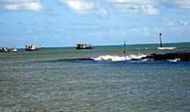 Maxaranguape - Saída do rio indo pro mar em Maxaranguape-RN-Foto:Mário Március