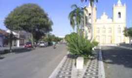 São João do Sabugi - Avenida principal com vista da Igreja Matriz de São João Batista-Foto:Gi & Zé